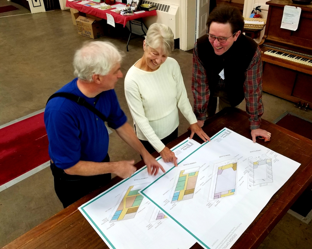 Sketches of the First Parish elevator plan